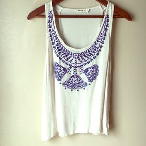 Chloe & Katie Boho Embroidered Gauze Tank Top